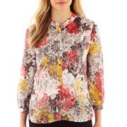 Liz Claiborne® Long-Sleeve Button-Front Blouse - Petite