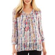 Liz Claiborne 3/4-Sleeve V-Neck Print Blouse