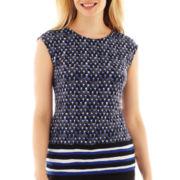Liz Claiborne Drop-Shoulder Border Top - Petite