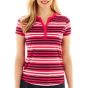 Liz Claiborne Short-Sleeve Striped Henley Tee - Petite