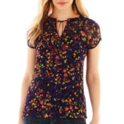 Liz Claiborne Short-Sleeve Split-Neck Blouse with Cami - Tall