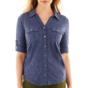 Liz Claiborne 3/4-Sleeve Button-Front Top - Petite