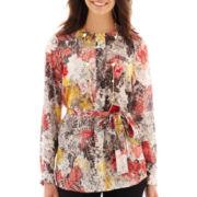 Liz Claiborne Long-Sleeve Print Tunic Top