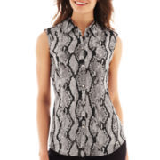 Liz Claiborne Sleeveless Snakeprint Blouse