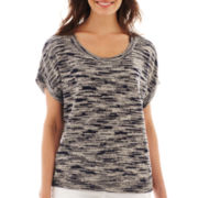 Liz Claiborne® Short-Sleeve Space-Dye Sweater