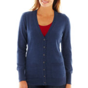 Liz Claiborne Long-Sleeve Boyfriend Cardigan Sweater - Tall