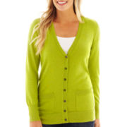 Liz Claiborne® Long-Sleeve Boyfriend Cardigan Sweater