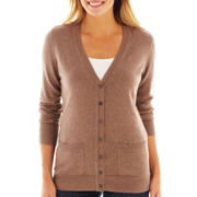 Liz Claiborne® Long-Sleeve Boyfriend Cardigan Sweater - Petite