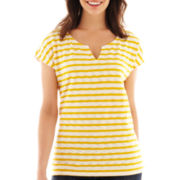 Liz Claiborne Short-Sleeve Textured Tee - Tall