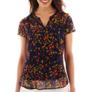 Liz Claiborne Short-Sleeve Split-Neck Blouse with Cami