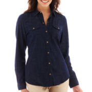 Liz Claiborne Long-Sleeve Snap-Front Denim Shirt - Tall