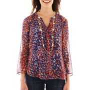 Liz Claiborne 3/4-Sleeve Split-Neck Blouse with Cami