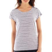 Liz Claiborne Short-Sleeve Striped Shoulder-Button Tee