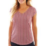 Liz Claiborne® Short-Sleeve V-Neck Print Tee - Petite