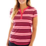 Liz Claiborne Short-Sleeve Striped Henley Tee