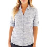 Liz Claiborne® 3/4-Sleeve Button-Front Shirt - Tall