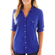 Liz Claiborne 3/4-Sleeve Button-Front Shirt - Tall