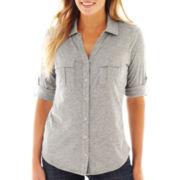 Liz Claiborne® 3/4-Sleeve Button-Front Shirt