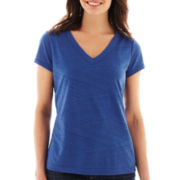 Liz Claiborne Short-Sleeve Striped Burnout Tee with Cami