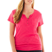 Liz Claiborne Short-Sleeve Striped Henley Tee - Plus