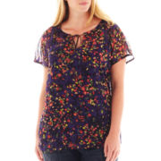 Liz Claiborne Short-Sleeve Peasant Blouse with Cami - Plus