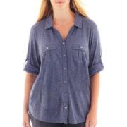 Liz Claiborne® 3/4-Sleeve Button-Front Shirt - Plus