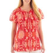 Liz Claiborne Short-Sleeve Peasant Blouse - Plus
