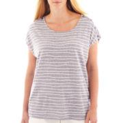 Liz Claiborne® Short-Sleeve Striped Shoulder-Button Tee - Plus