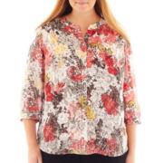 Liz Claiborne® Long-Sleeve Button-Front Blouse - Plus