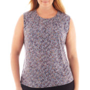 Liz Claiborne® Sleeveless Split-Neck Keyhole Top - Plus