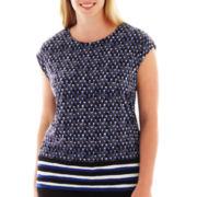 Liz Claiborne® Drop-Shoulder Border Print Top - Plus