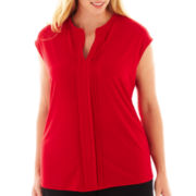 Liz Claiborne Short-Sleeve Pleated Top - Plus