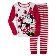Disney Collection Red Minnie Mouse 2-pc. Pajamas – Girls 2-10
