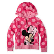 Disney Collection Hooded Pink Minnie Mouse Fleece Jacket – Girls 2-10