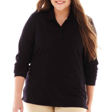 jcpenney.com | Arizona Long-Sleeve Uniform Polo Shirt - Juniors Plus