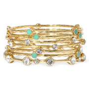 Gemma Simone™ Bodhi Sun Salutation Crystal and Aqua Multi-Row Bangle Bracelet