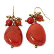 Aris by Teska Red Nugget and Bead Drop Earrings