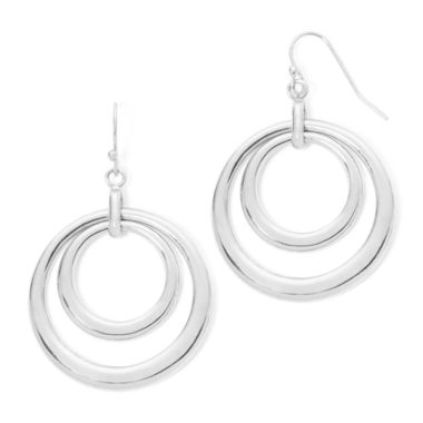 jcpenney.com | Liz Claiborne® Silver-Tone Openwork Circle Drop Earrings