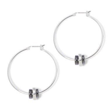 jcpenney.com | Liz Claiborne® Silver-Tone and Hematite Rondelle Hoop Earrings