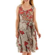 Robbie Bee® Sleeveless Belted Corkscrew Dress - Petite