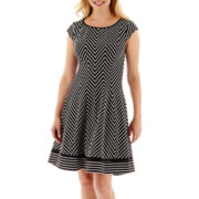Robbie Bee® Cap-Sleeve Chevron Print Scuba Fit-and-Flare Dress - Petite