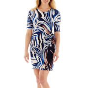 Robbie Bee® 3/4-Sleeve Side-Tie Sheath Dress - Petite