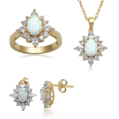 jcpenney.com | Lab-Created Opal and White Sapphire 14K Gold over Silver Jewelry