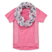 Self Esteem® Lace Tee and Scarf - Girls 7-16 and Plus