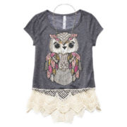 Beautees Lace-Hem Tee and Necklace - Girls 7-16 and Plus