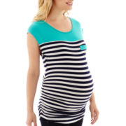Zoomers Maternity Cap-Sleeve Striped Colorblock T-Shirt