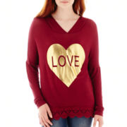 Miss Chievous Long-Sleeve Crochet-Hem Graphic Hoodie