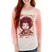 Raglan-Sleeve Burnout Graphic T-Shirt