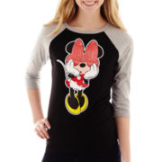 Disney Raglan-Sleeve Minnie Mouse Sequin Graphic T-Shirt