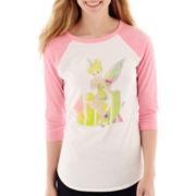 Raglan-Sleeve Peter Pan Sequin Graphic T-Shirt